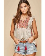 Sleeveless Top Embroidery Charcoal