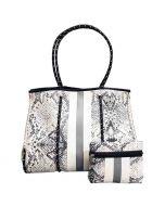 Neoprene Tote Bag Grey Snake