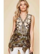 Embroidered Camo Print Top