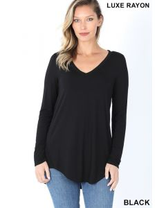 Luxe LSL V-Neck Hi-Low Hem Top