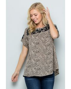 Tan Leopard Embroidered Top