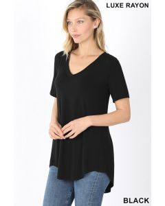 Luxe SSL V-Neck Round Hem Top