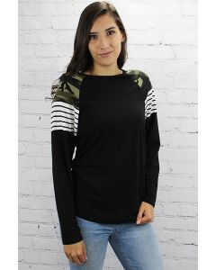 LSL Camo and Stripes Top