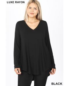 Luxe LSL V-Neck Hi-Low Hem +Top