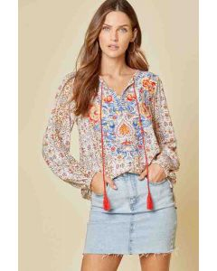 Round-neck Embroidered LSL Top Multi