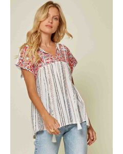 Ivory Embroidery Babydoll Top