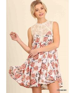 Umgee Slvls Floral Dress Cream
