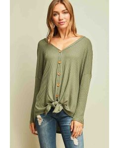 Waffle Knit Button-Up Top Olive
