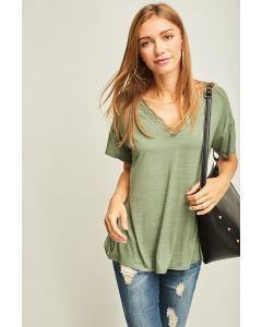 Entro Heathered V-Neck Lace Top Army