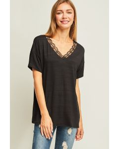 Entro Heathered V-Neck Lace Top Black