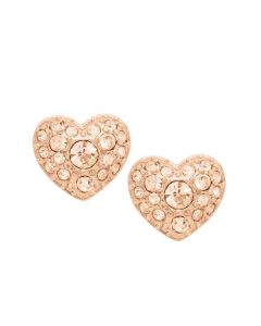 Fossil Heart Studs Rose Gold