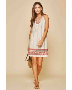Denim-Taupe Striped Embroidered Dress