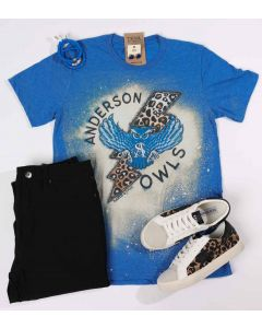 Anderson Owls Rockin Bleached Tee