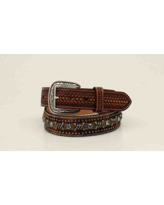 Ariat Calf Hair Belt Turquoise Stones