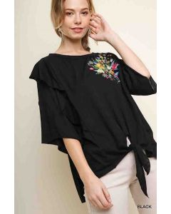 Floral Embroidered Top Black