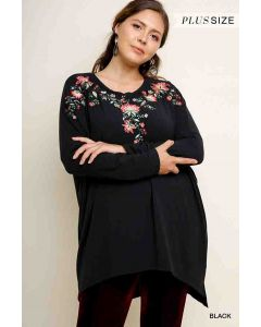 Floral Embroidered LSL Tunic Black