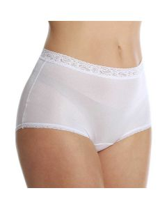 Lorraine Nylon Full Brief with Lace Trim Panty