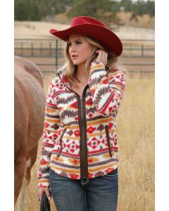 Cinch Womens Fleece Jacket Ivory-Red