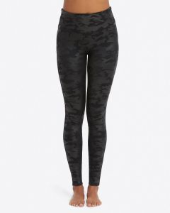 Spanx Black Camo Faux Leather Leggings