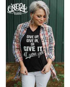 Give It All Tee Black Vneck Tee