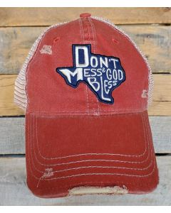 God Bless TX Hat Distressed Red