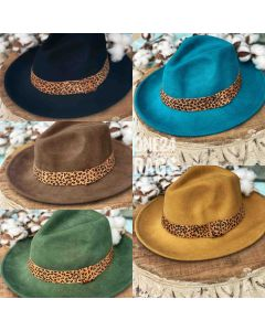 Fedora Hat Leopard Accent Band
