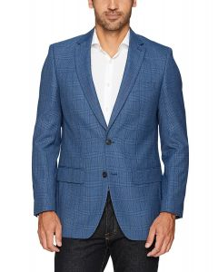 Haggar Sport Coat Glenn Plaid Medium Blue