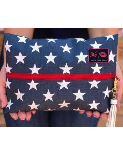 Red White and Beautiful Flat Cosmetic Bag