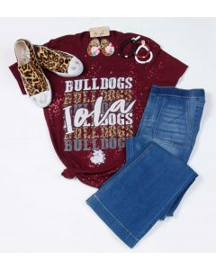 Iola Bulldogs Repeat BLEACHED V-Neck Tee