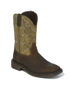 Justin Work Boots Square Toe Amarillo Cactus-Chocolate (Soft Toe)