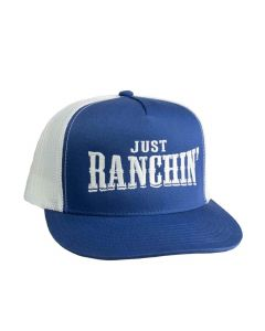 Just Ranchin Blue White Mesh Hat