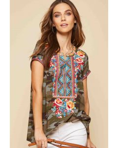 Camo Print Top with Embroidery
