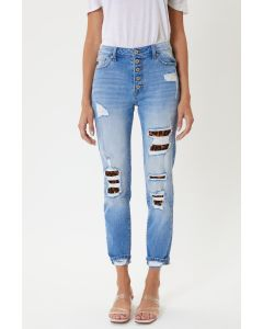 KanCan Leona High Rise Ankle Skinny Jeans Leopard Patches