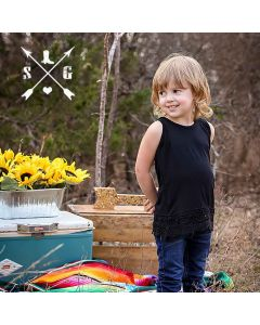 Kids Tank Crochet Lace Black
