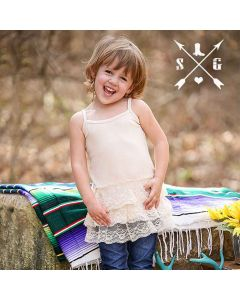 Kids Slip Dress Lace Ivory