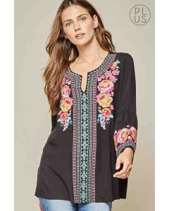 Black Embroidered Plus Top