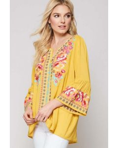 Marigold Floral Embroidered Top