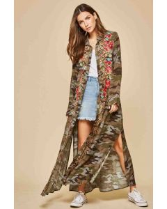 Camo Emboidered Duster Dress