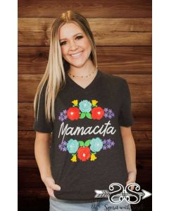 Mamacita VNeck Tee Heather Grey