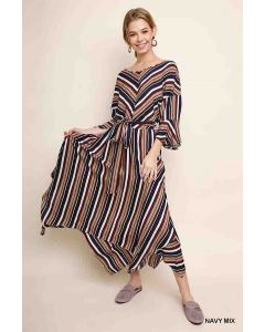 Umgee Striped Maxi Dress Navy
