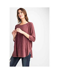 Mineral Wash Solid Dolman Top