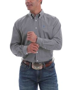 Cinch Shirt Print LSL White