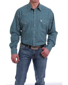 Cinch LSL Snap Front Teal Print