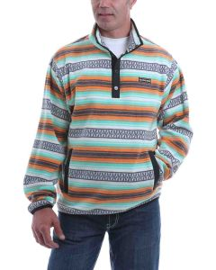 Cinch Fleece Pullover Orange-Teal