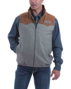 Cinch Mens Silver-Brown Color Block Bonded Vest