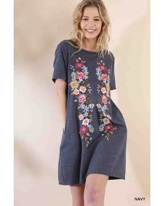 Floral Embroidered Pocket Tee Dress Nvy