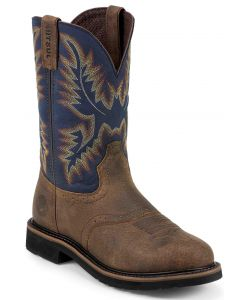 Justin Round Toe Stampede Safety Toe Work Boots