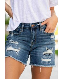 Mid-Rise Patch Cut Off Shorts