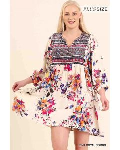 V-Neck Floral Peasant Dress PRC
