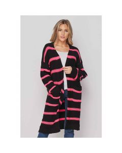 Honeyme Black-NeonPink Cardigan